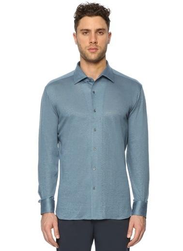 Corneliani %100 Keten Uzun Kollu Gömlek Mavi